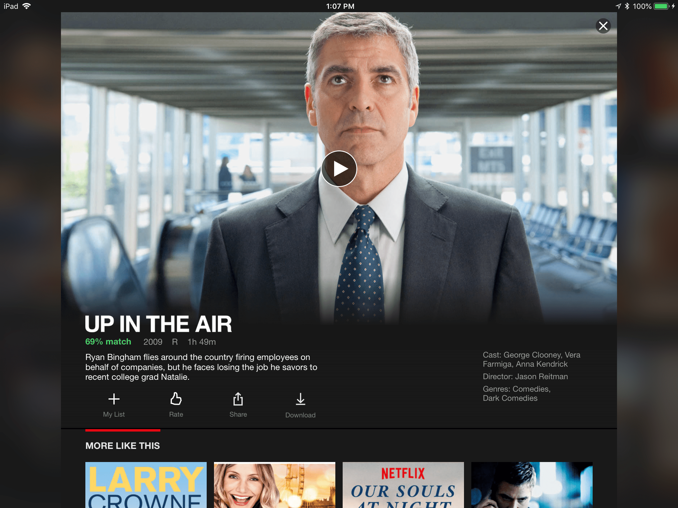 Using the Netflix mobile app (shown on an iPad Pro), after selecting a movie, tap on the Download icon to download and watch it on your mobile device.