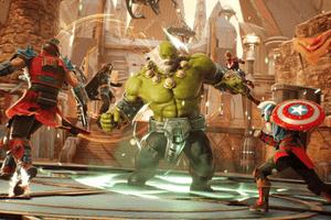 Marvel characters fighting old Hulk in Marvel Future Revolution