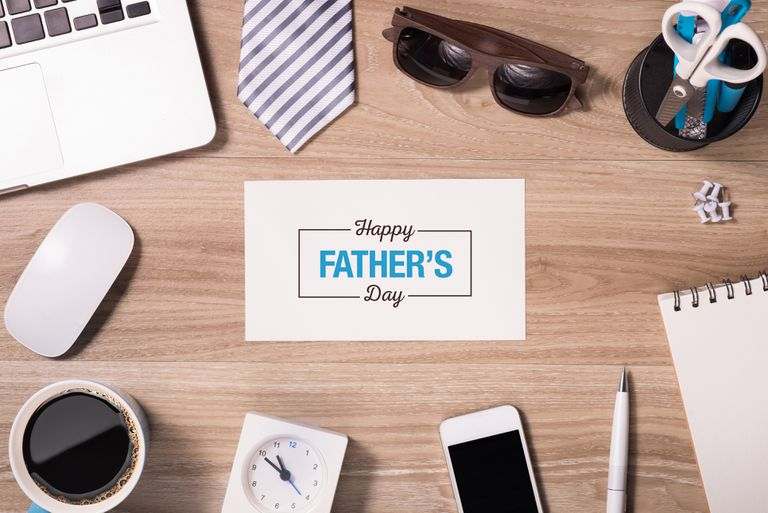 Happy Father's Day message on a table