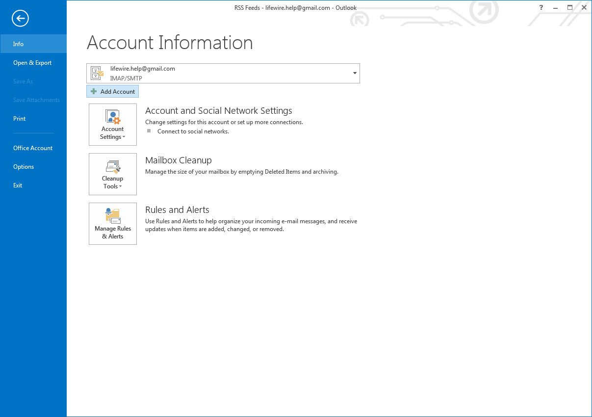 Outlook 2013 Account Information screen and Add Account button