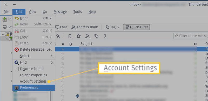 Screenshot of the Account Settings menu entry.