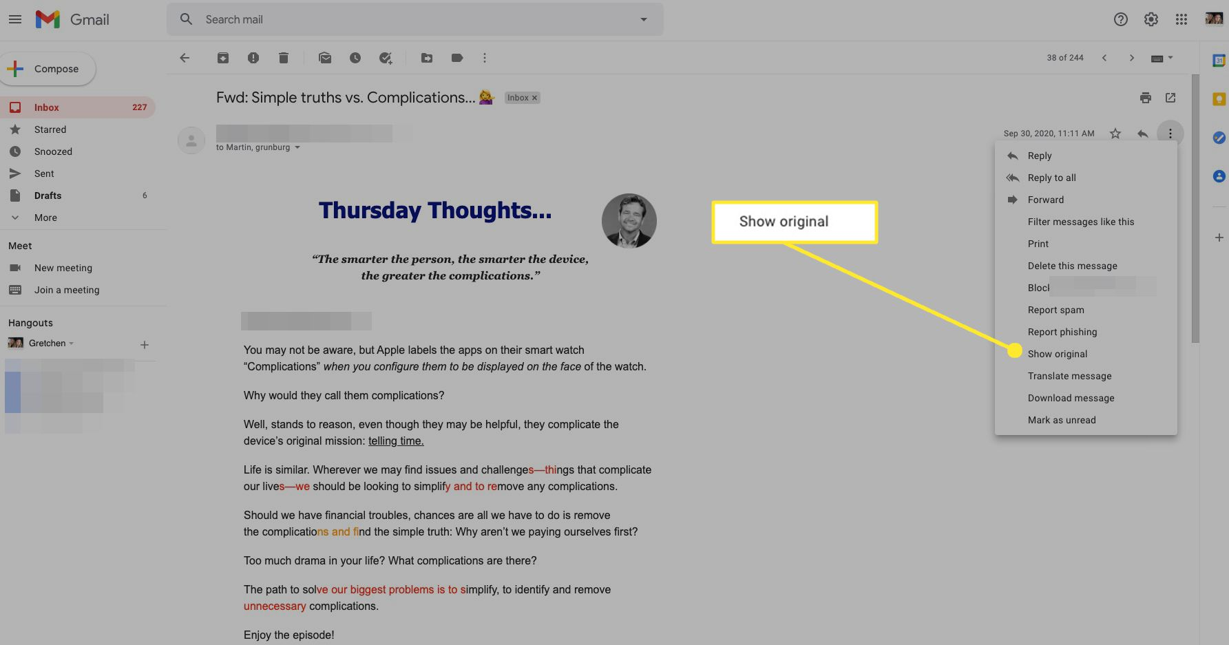Gmail message options with