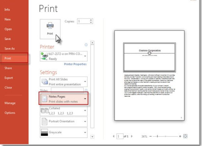Screenshot of printer settings to print PowerPoint speaker notes without slide thumbnails