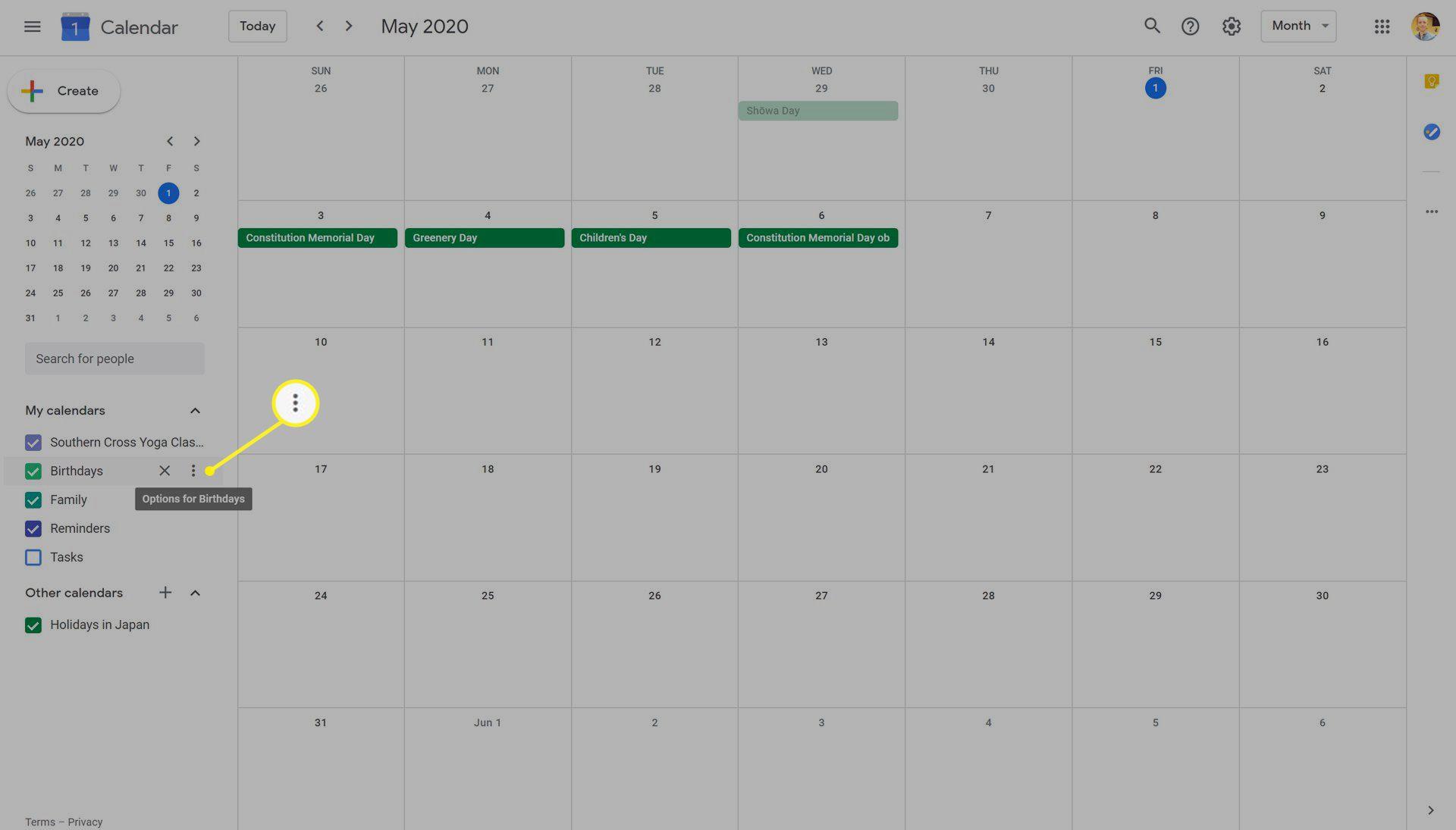 Google Calendar on the Web