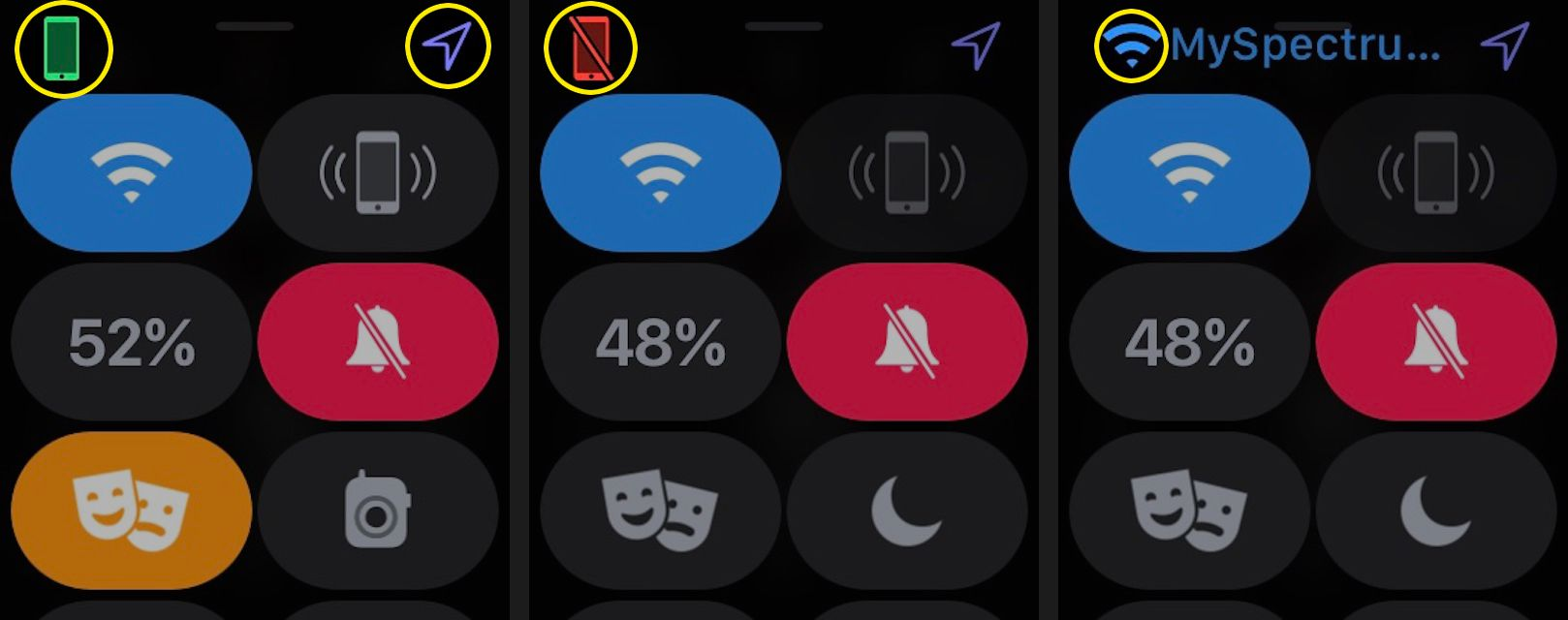 Apple Watch Control Center icons