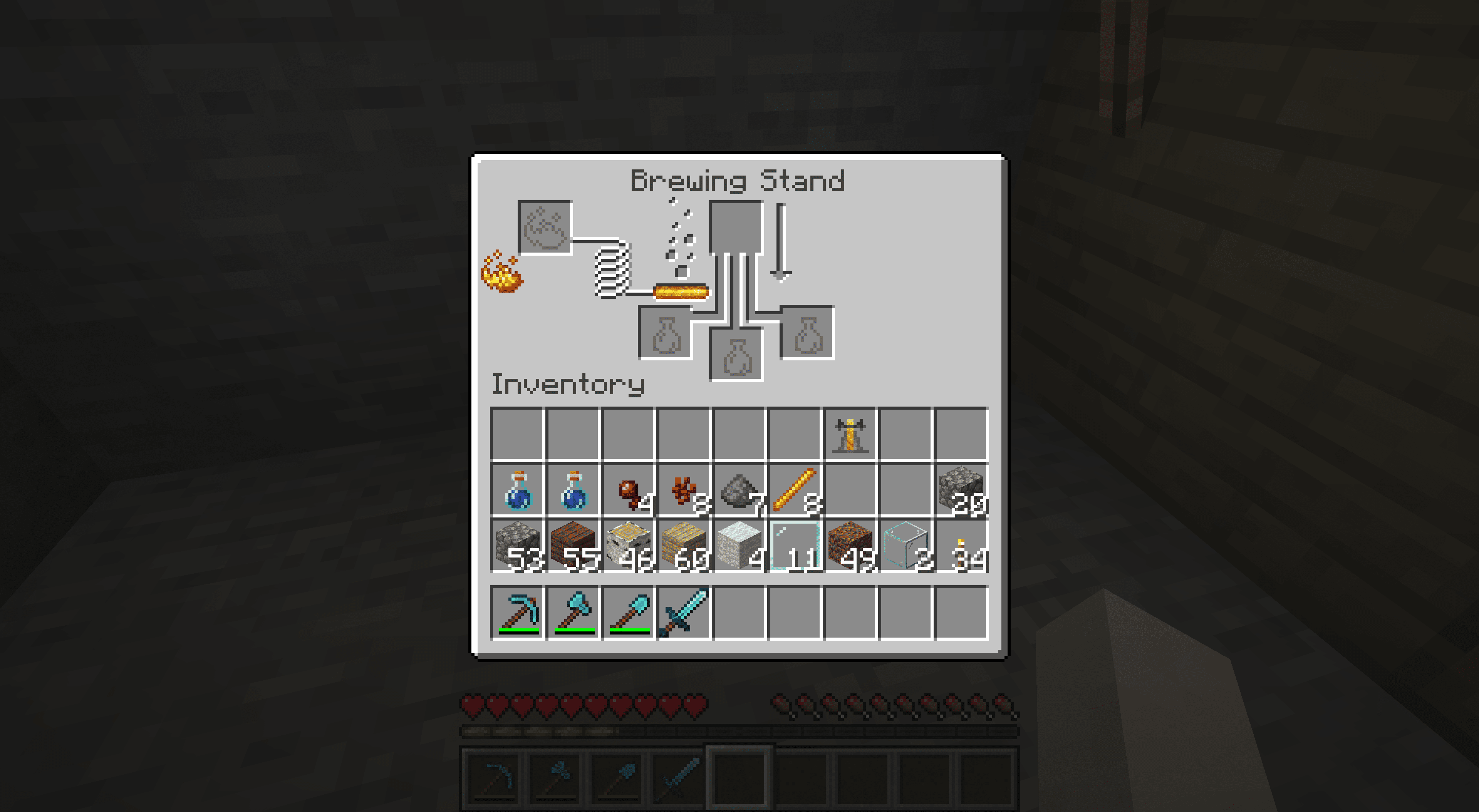 Placing blaze powder in a brewing stand in Minecraft.