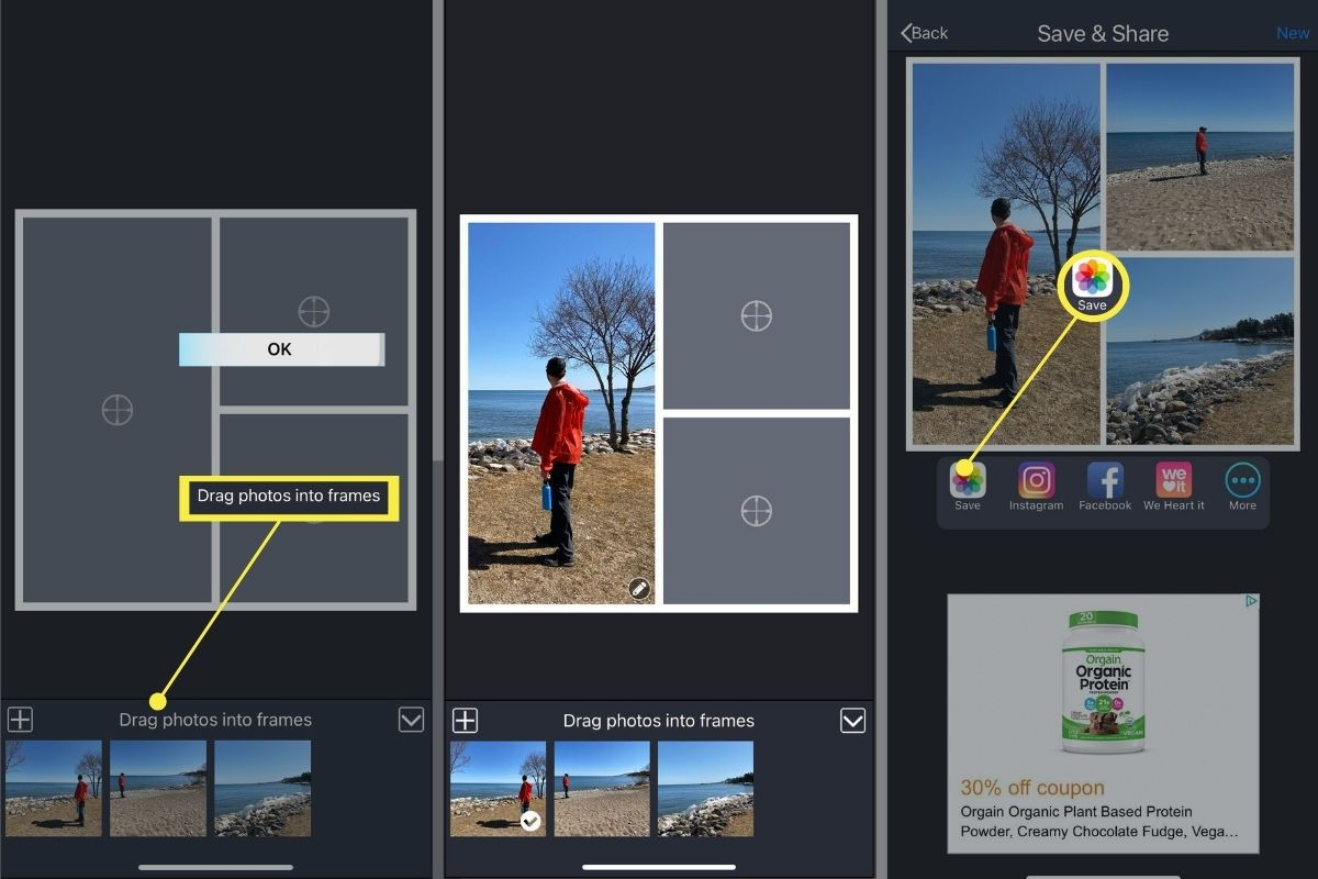Creating and exporting your image from Pic Stitch on iOS.