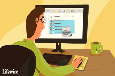 Illustration of a person deleting Outlook cache