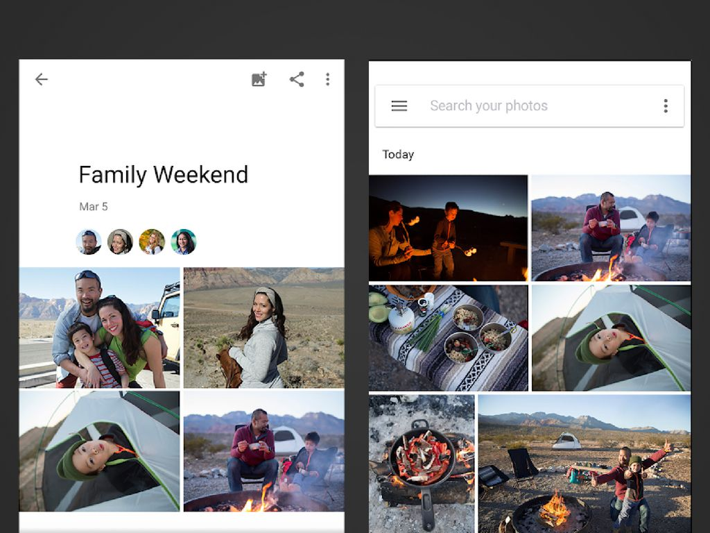 Two screenshots of the Google Photos app on Android.