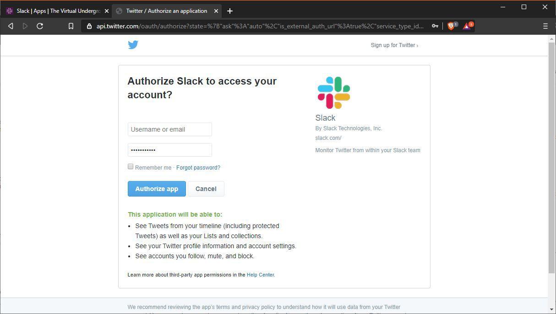 A screenshot of integrating Twitter with Slack.