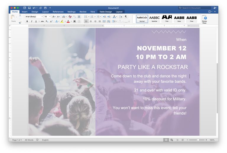 Concert flyer template for Word on macOS.