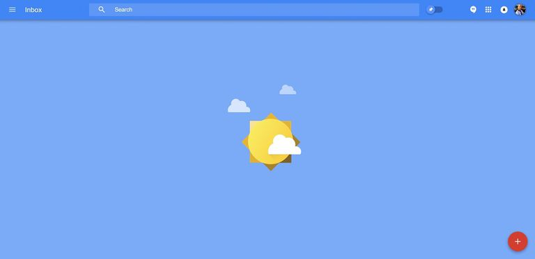 Screenshot of the Inbox by Gmail web version at inbox zero.