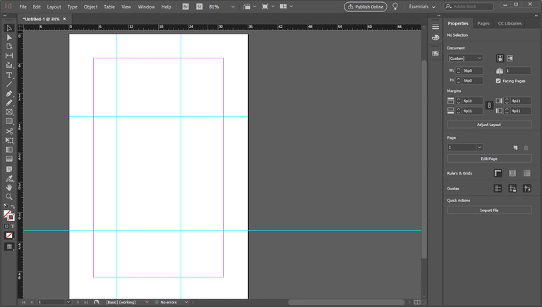 InDesign with discretionary ruler guides
