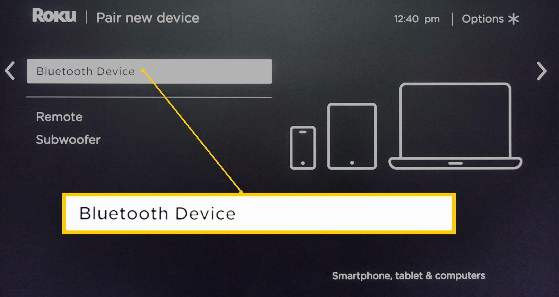 Roku Soundbar – Bluetooth Device Connection Page