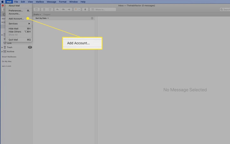 Add Account option under the Mail menu