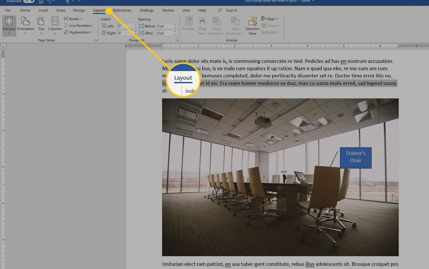 Microsoft Word with the Layout tab highlighted
