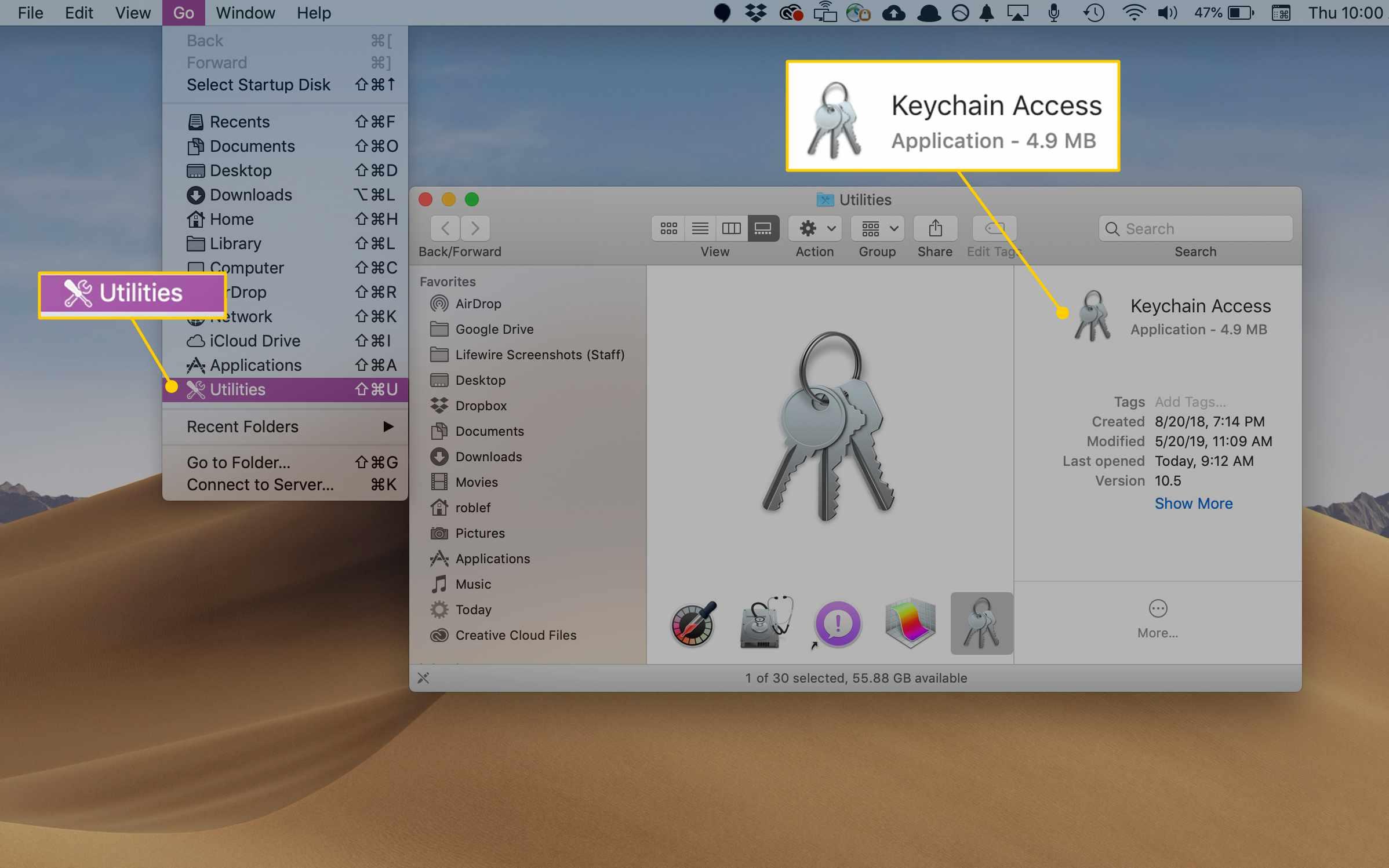 Utilities menu and Keychain Access app in macOS