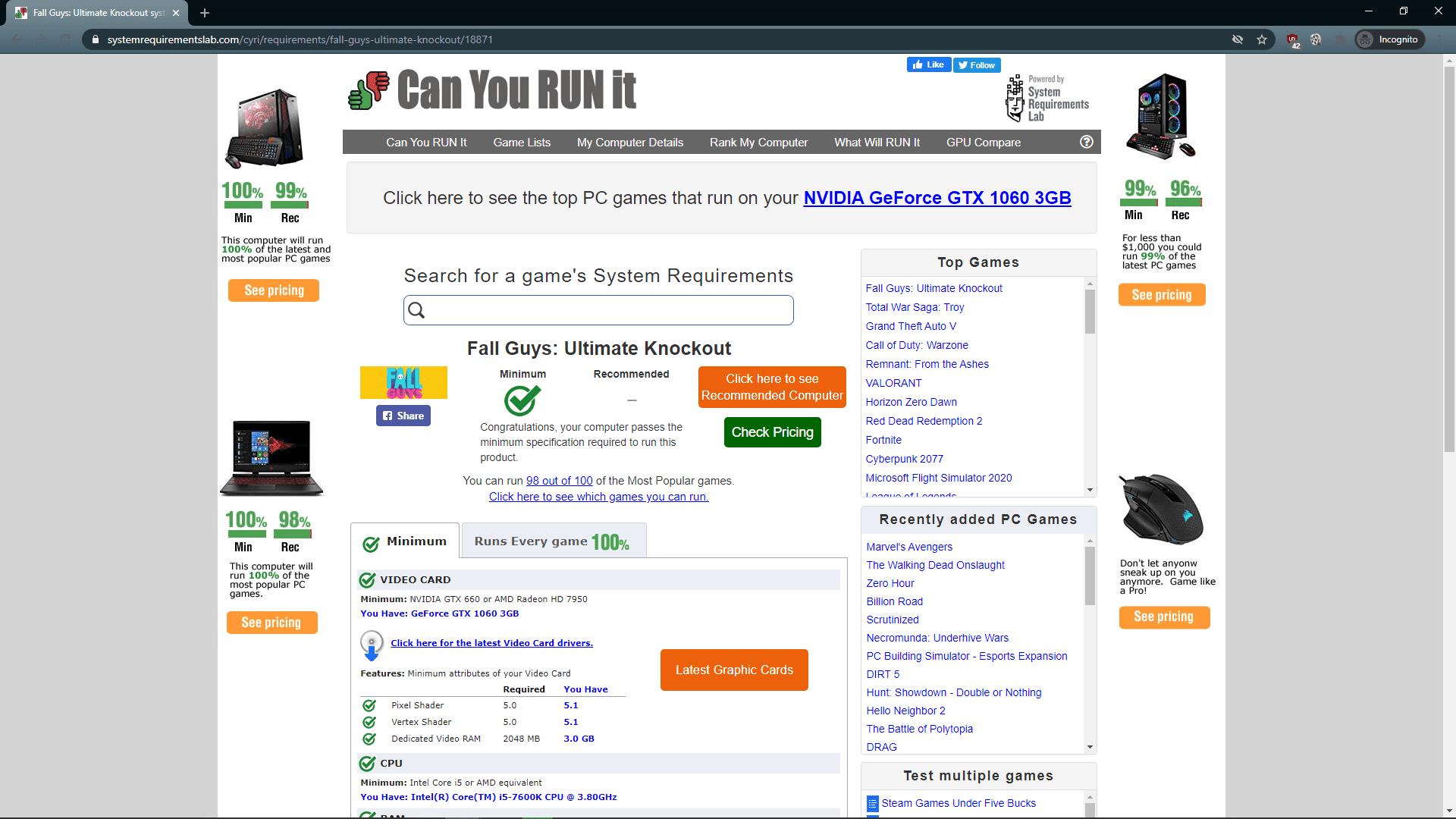 A screenshot of Can You Run It results.