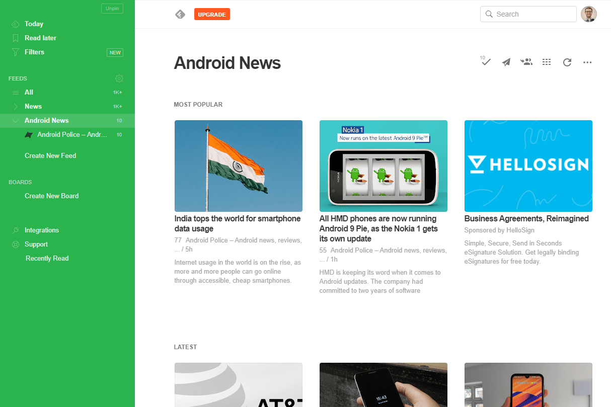 Android news feed in Feedly