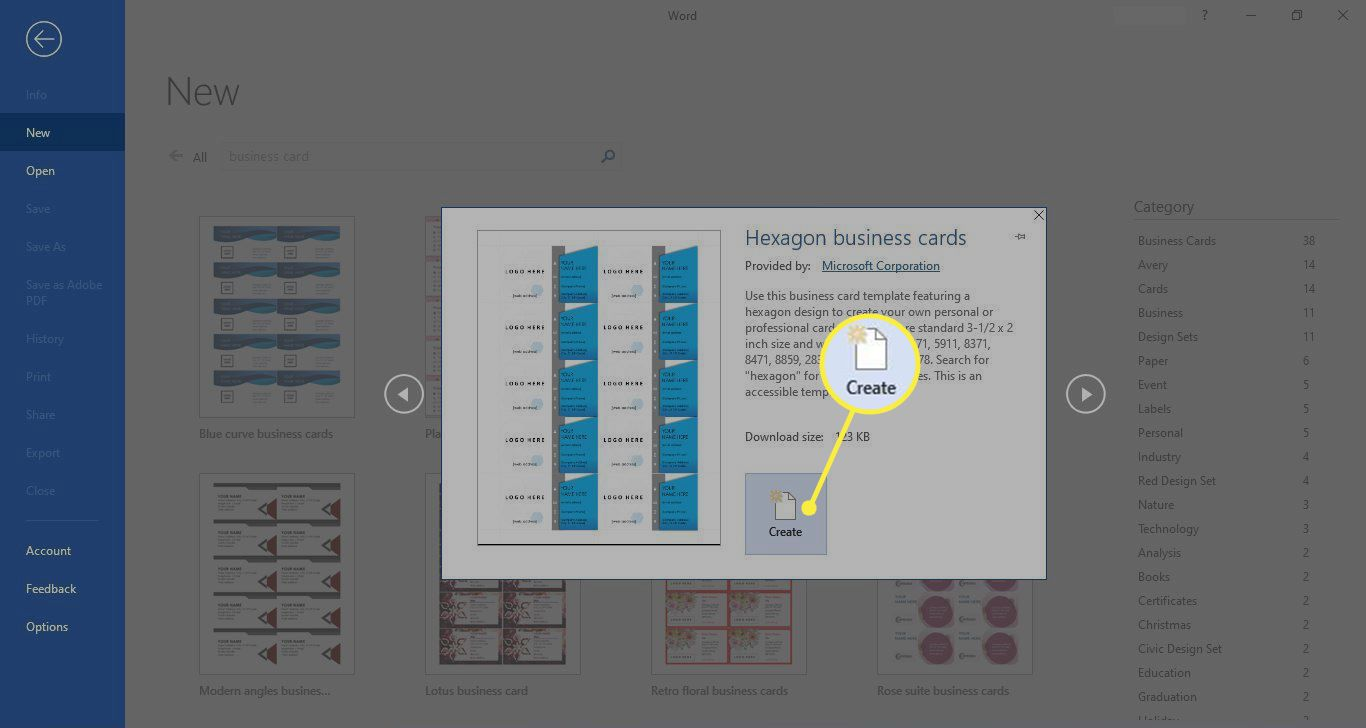 Create in Microsoft Word business card template pop-up