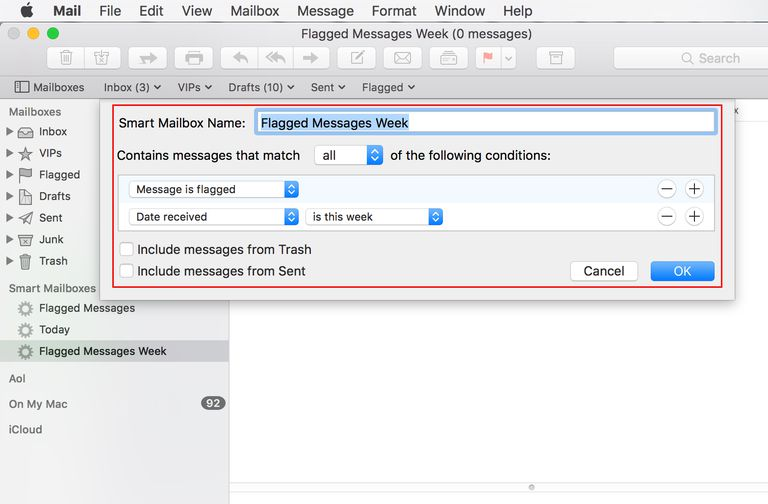 Smart Mailbox creation in Apple Mail