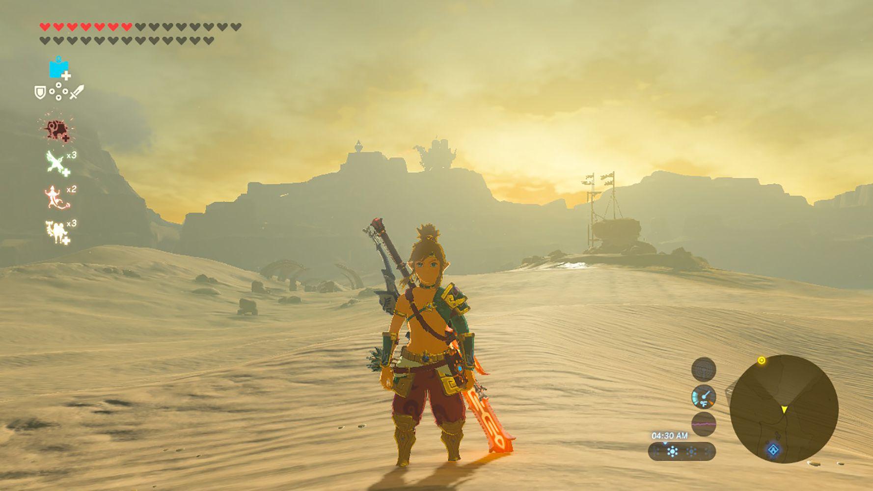 Screenshot of the Desert Doe Armor in Zelda: BOTW