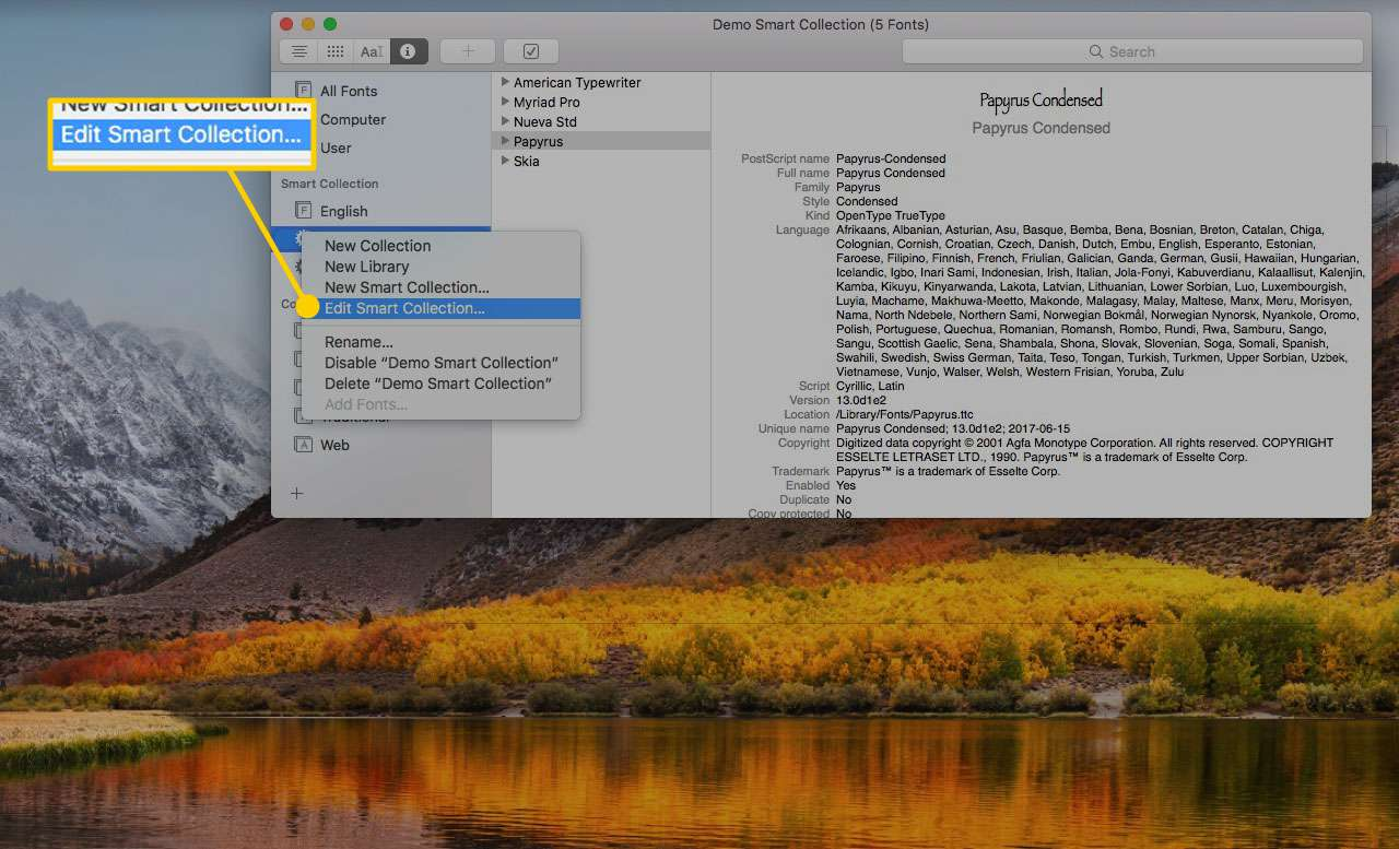 Font Book on a Mac with the Edit Smart Collection option highlighted