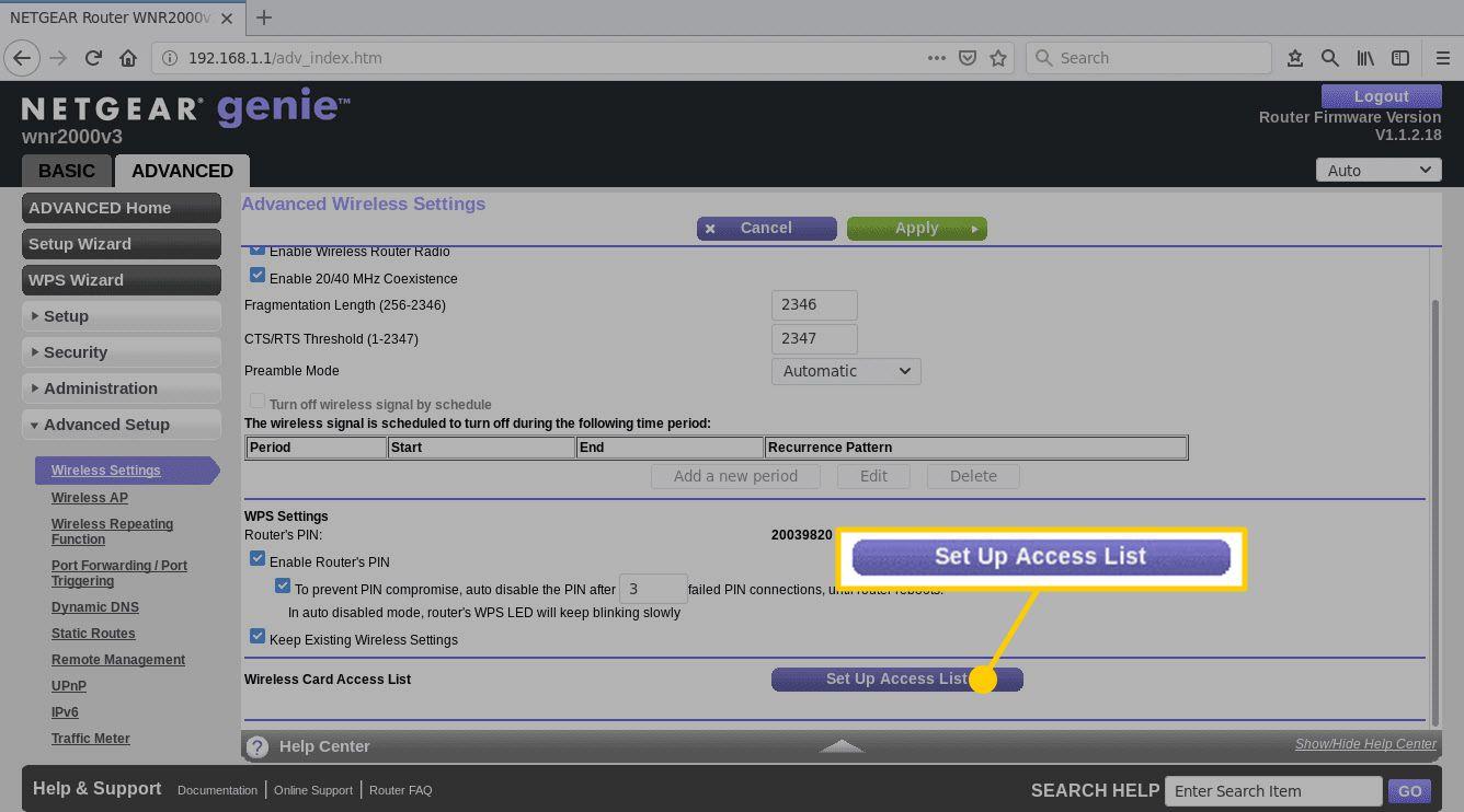 Netgear genie web UI page for Advanced Wireless Settings on the Firefox browser
