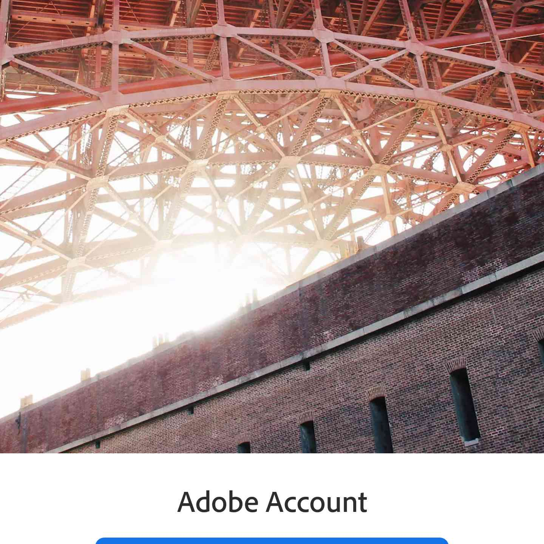 Adobe Lightroom app login screen
