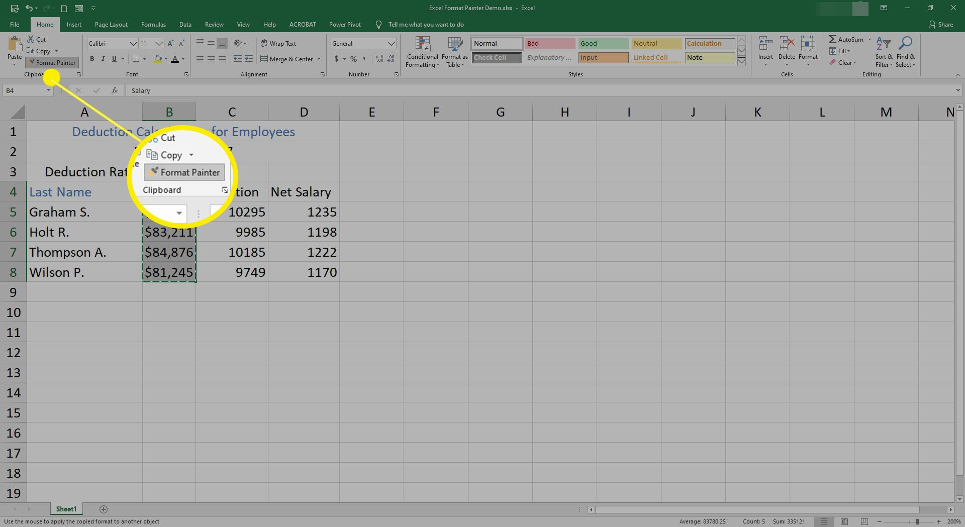 Selecting Format painter in Excel.