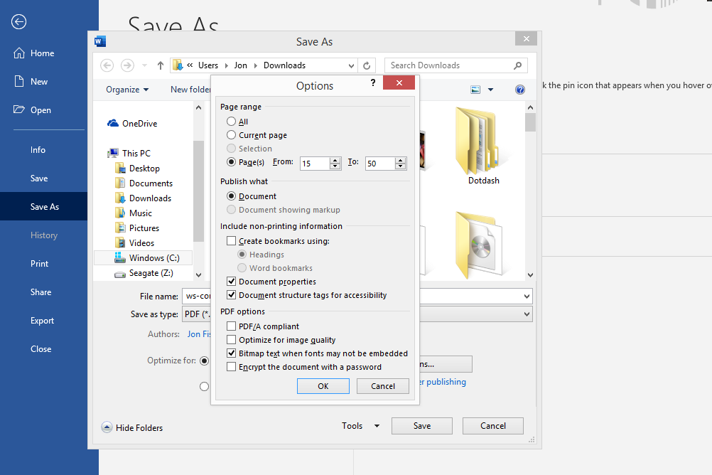 PDF split option in Microsoft Word