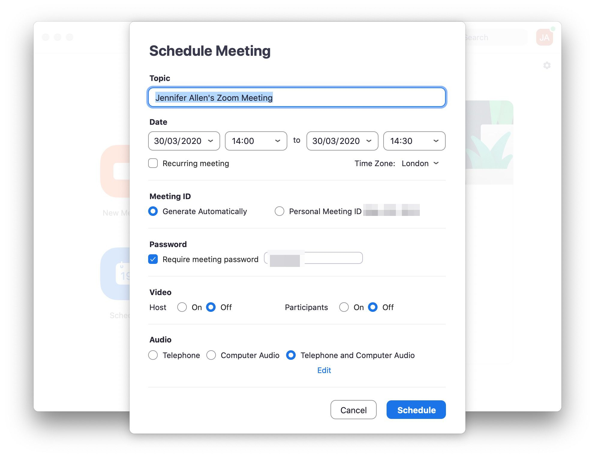Zoom app with scheduled meetings settings displayed