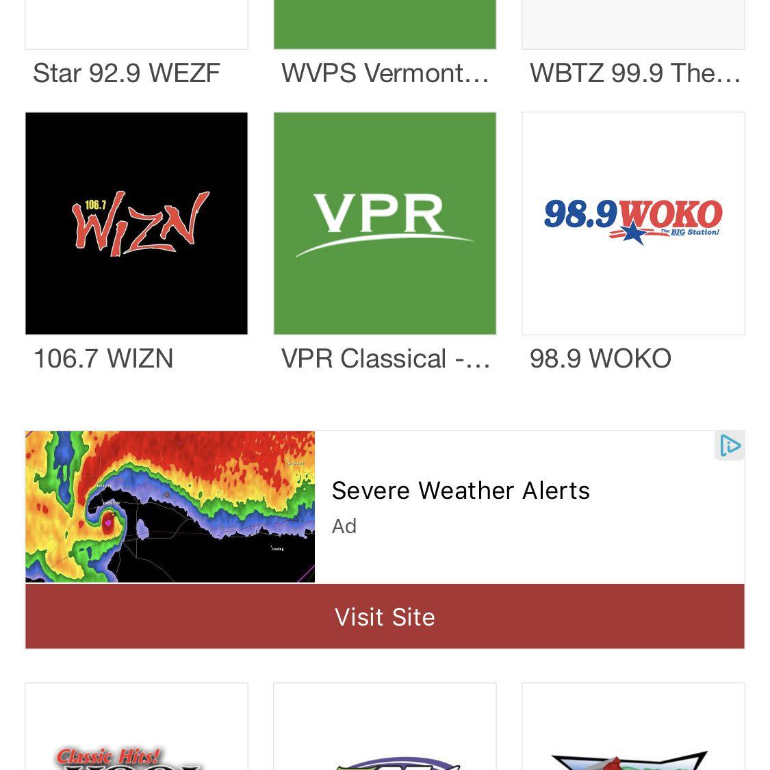 screenshot of myTuner app