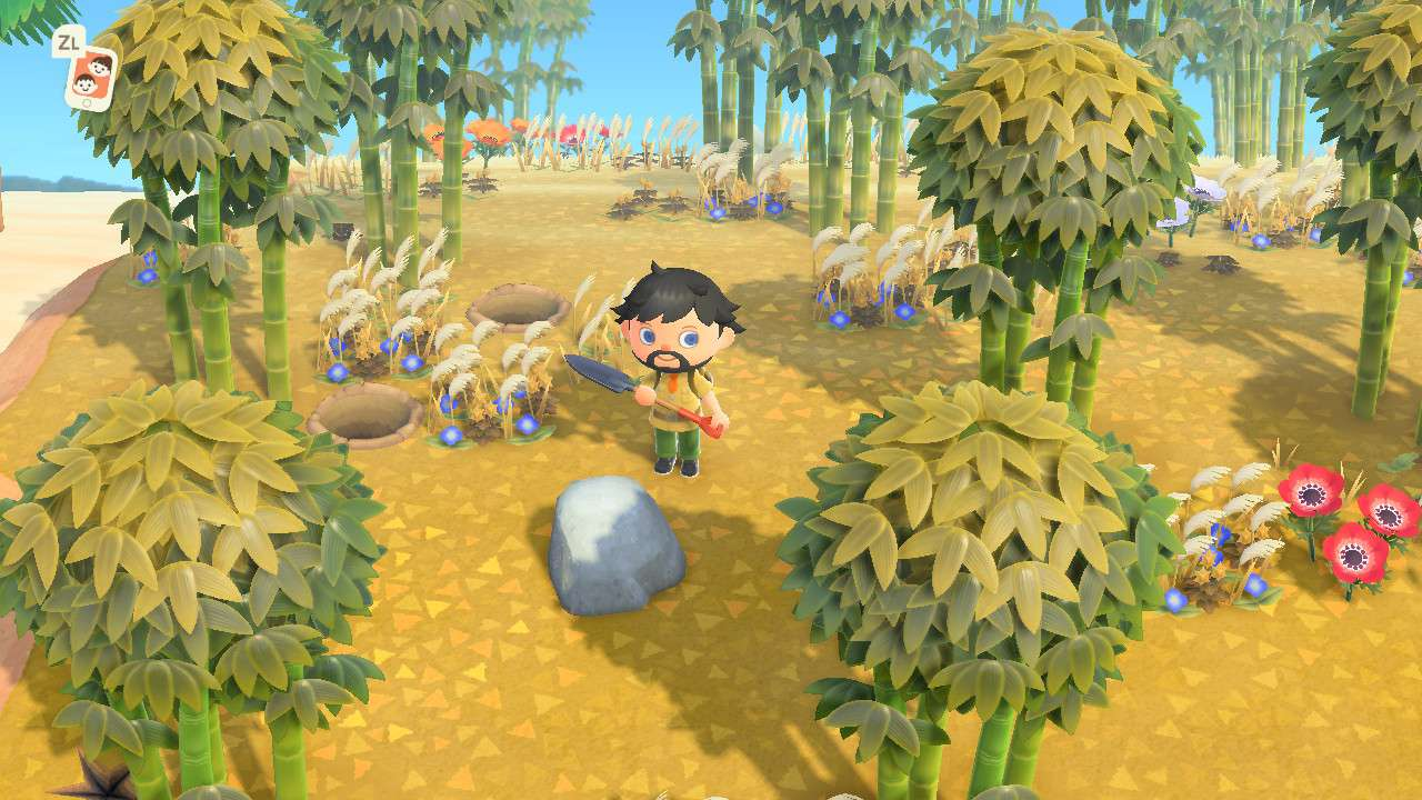 Animal Crossing character with rock on deserted island