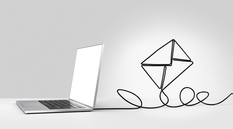 Image of a laptop sending an email.
