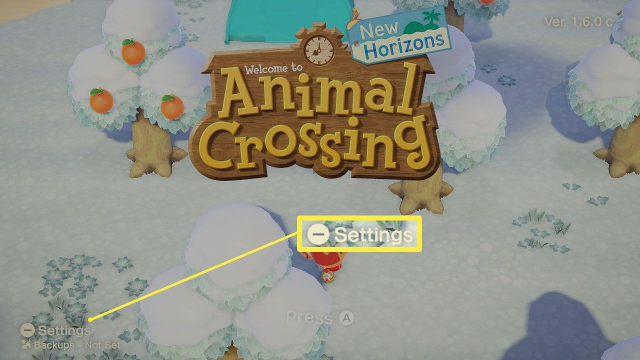 Animal Crossing: New Horizons main menu with Settings highlighted