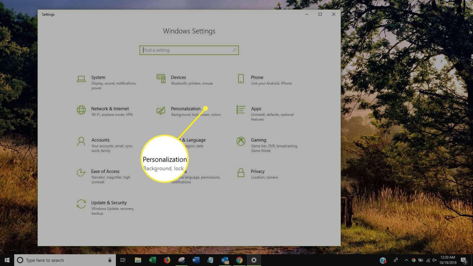 Screenshot of Personalization in Windows Settings