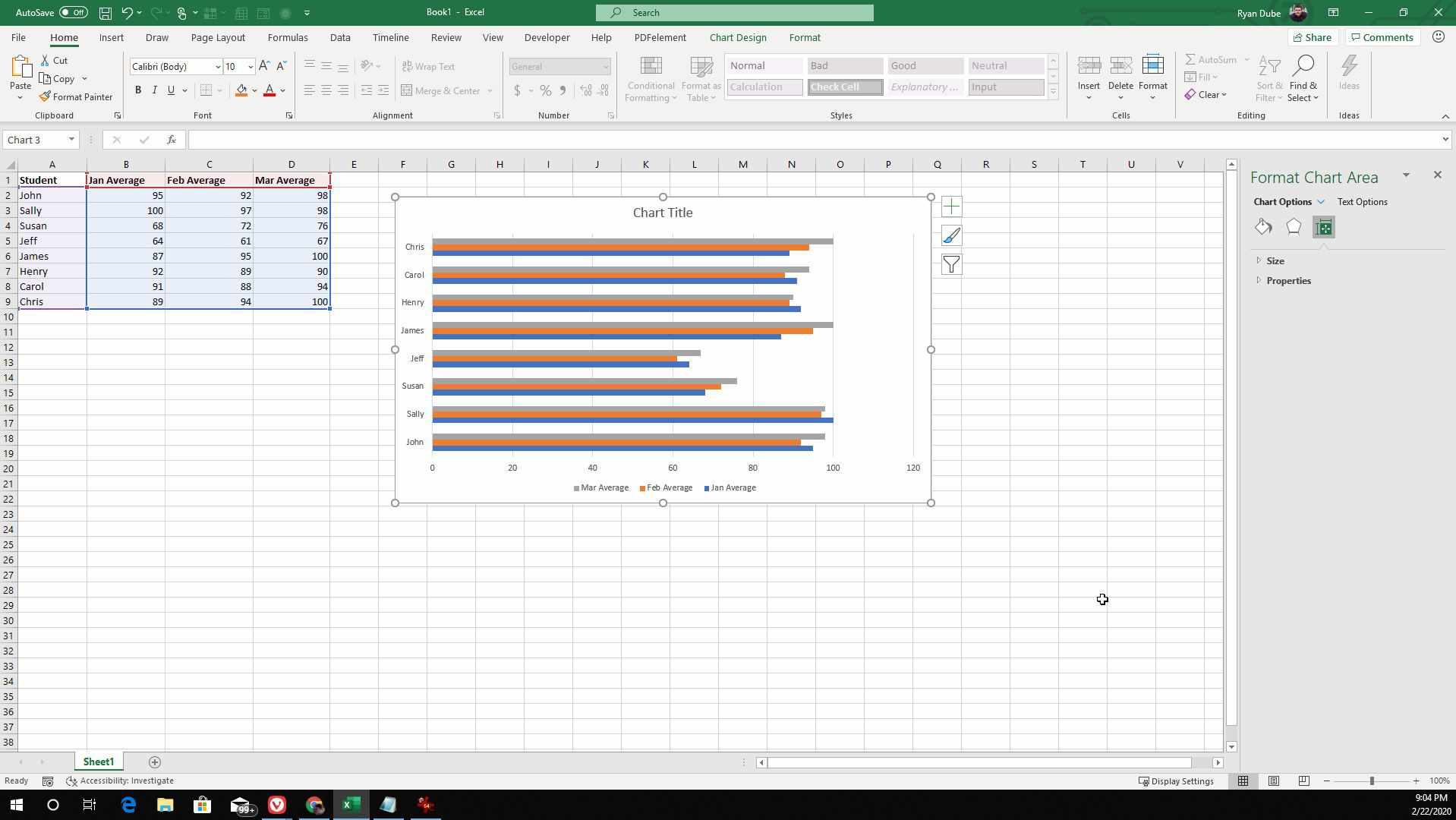 Screenshot of adding data to a bar graph in Excel
