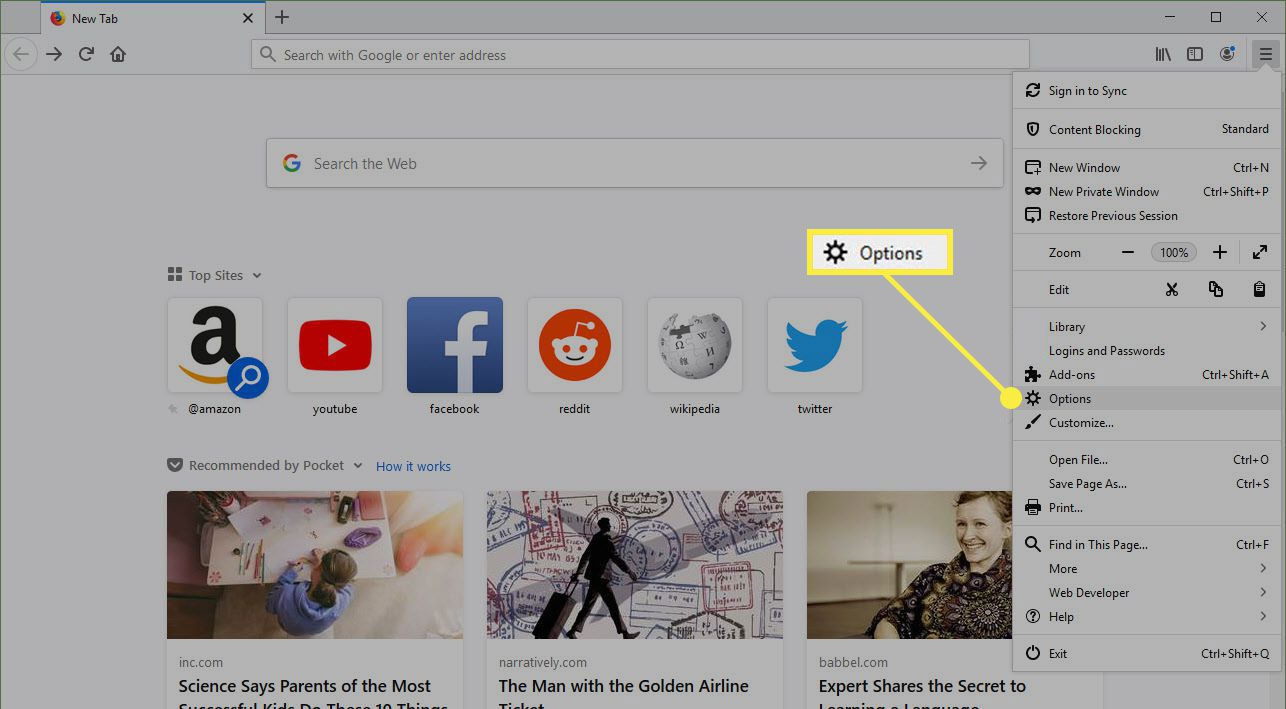 Options in Firefox for Windows