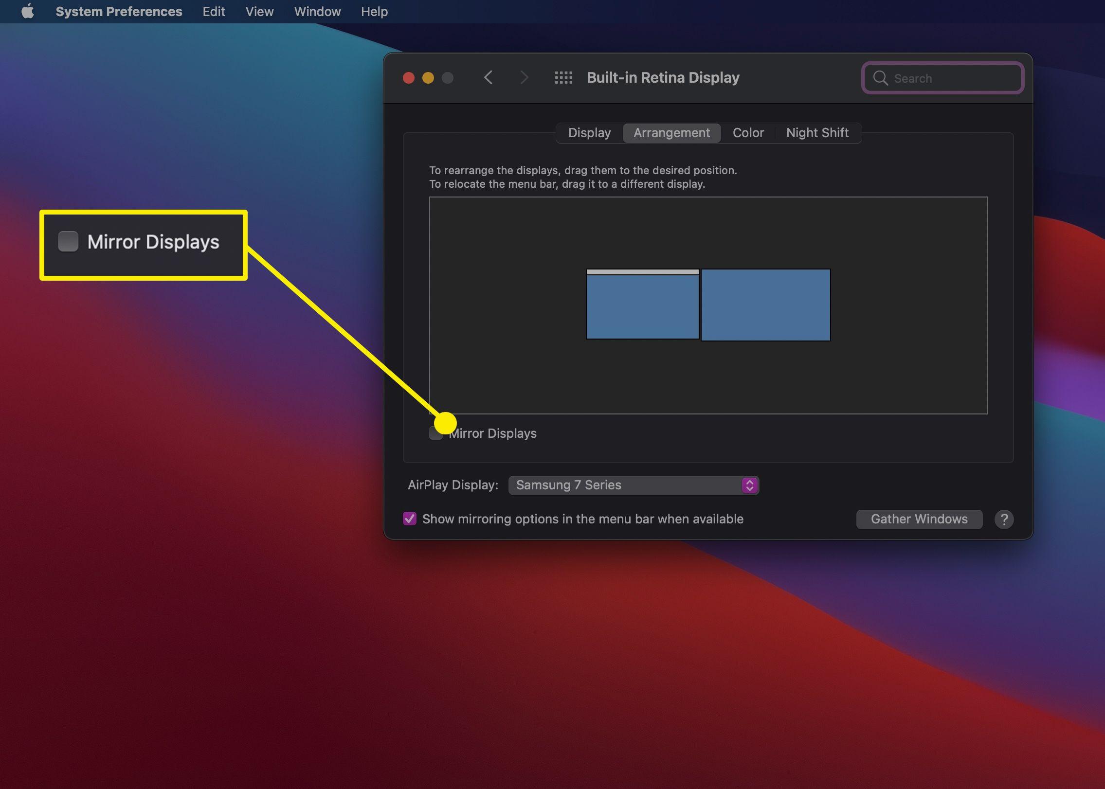 The Mirror Displays option in Display Settings on a MacBook.
