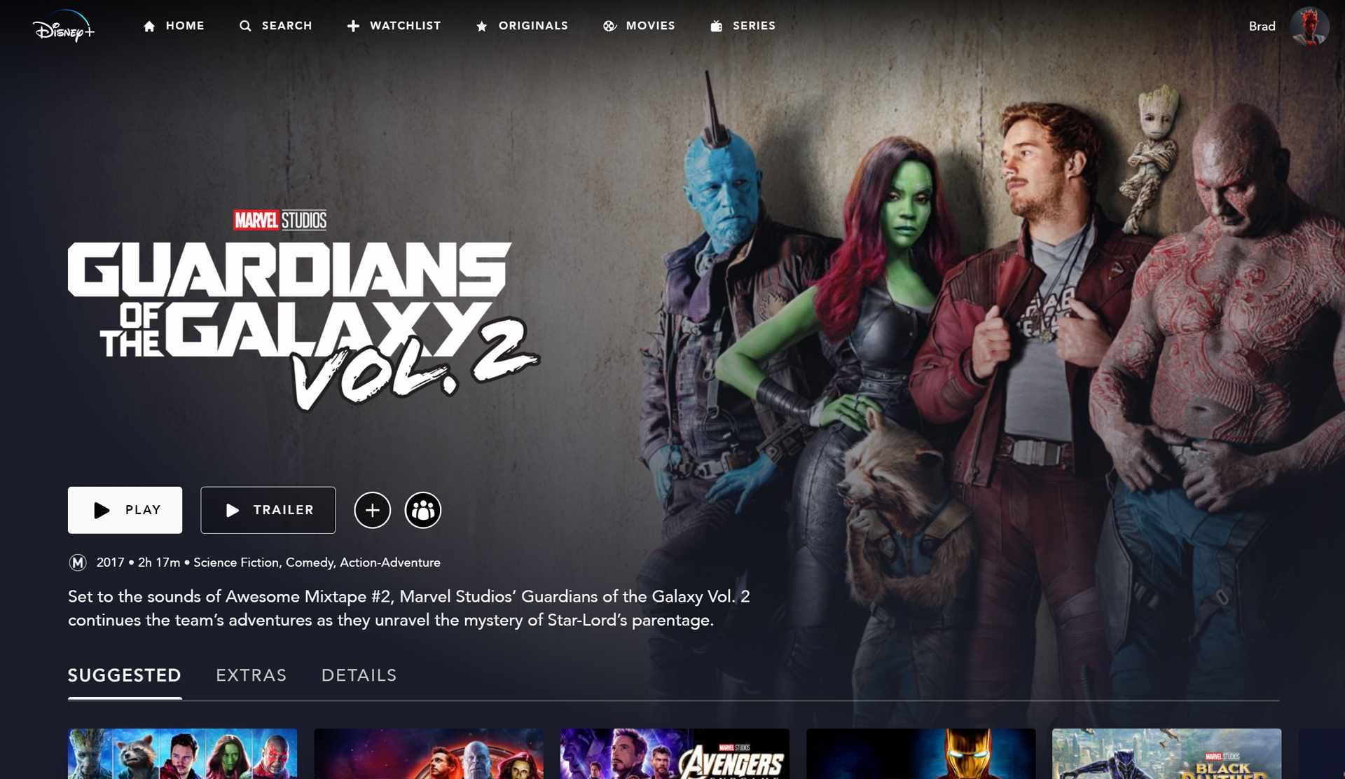 Marvel's Guardians of the Galaxy Vol 2 movie on Disney Plus.