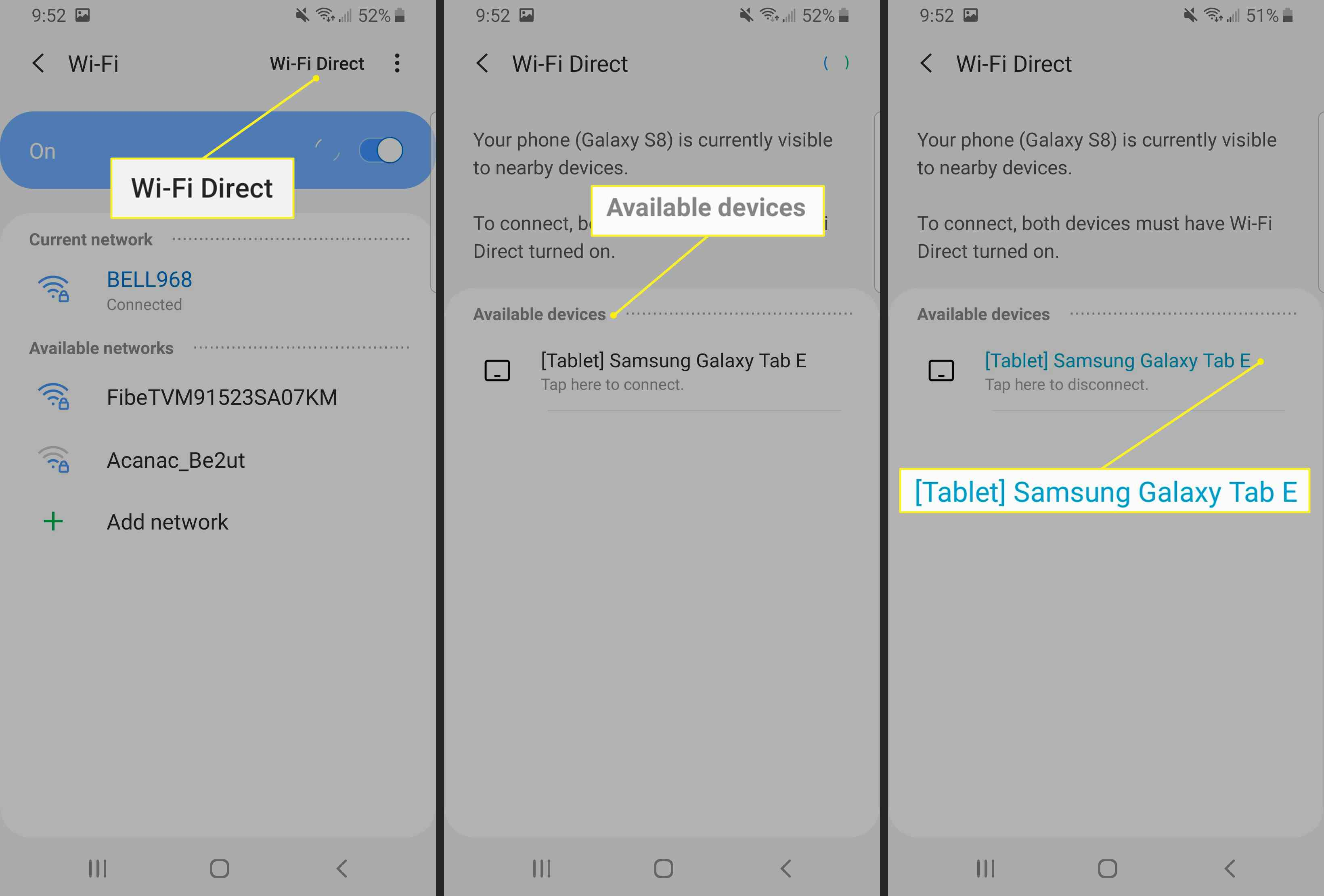 Wi-Fi Direct connecting to a Samsung Tablet