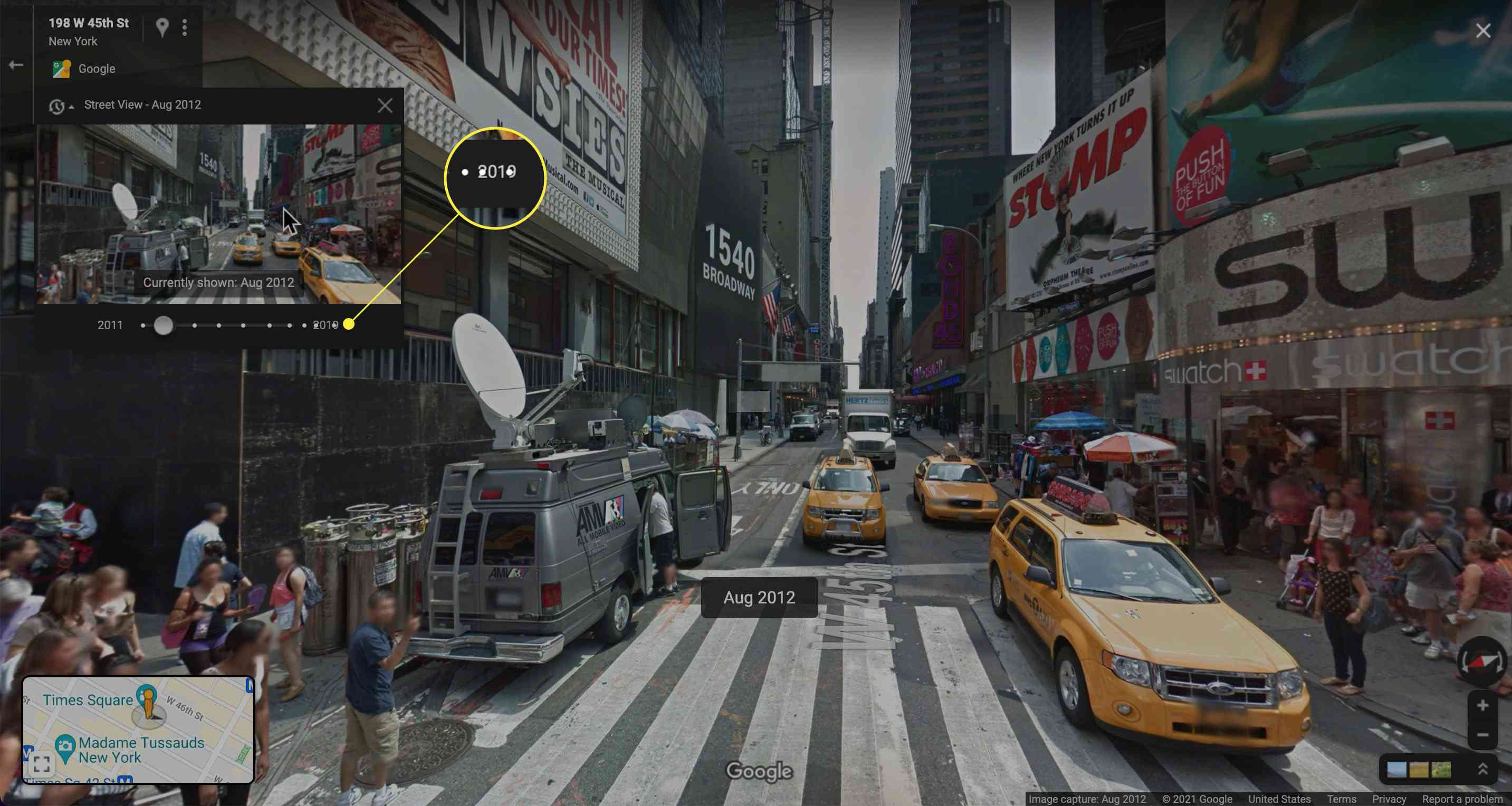 Google Maps Street View older photo displayed with far right of slider highlighted