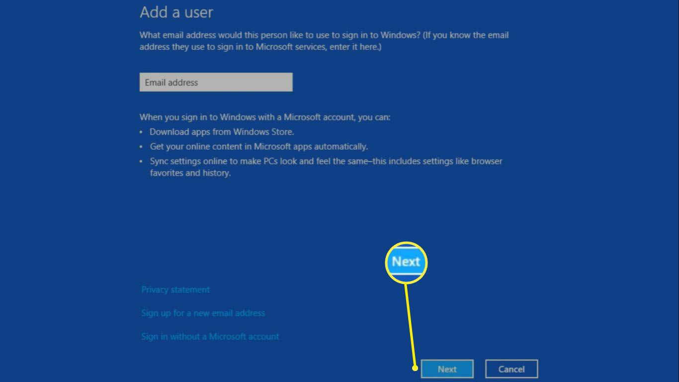 Enter the email address associated with the Microsoft account in the field provided and select Next.