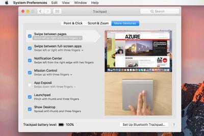 Mac trackpad preference pane screenshot