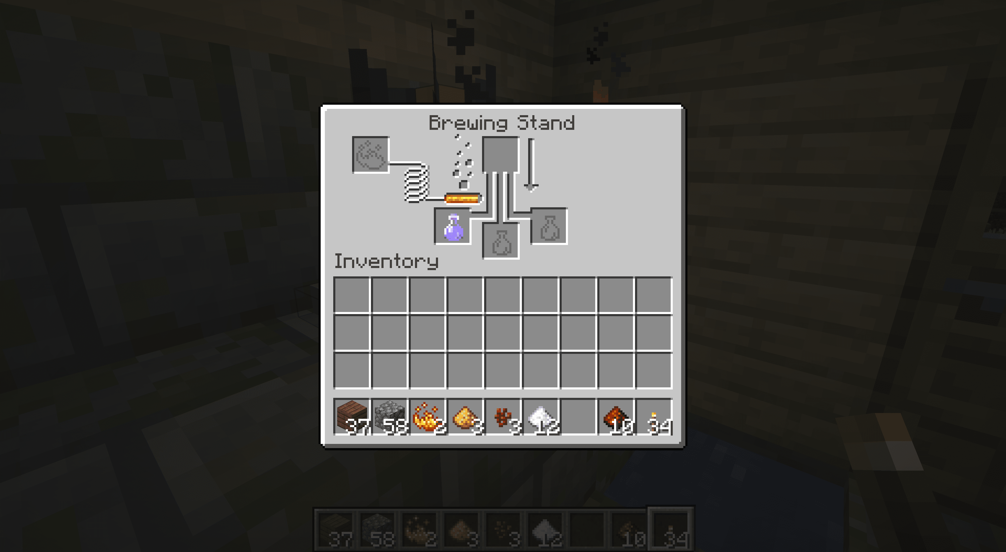 A swift potion in the Minecraft brewing interface.