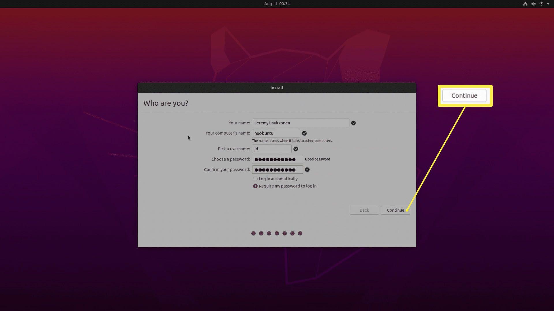 A screenshot of Ubuntu installation settings.