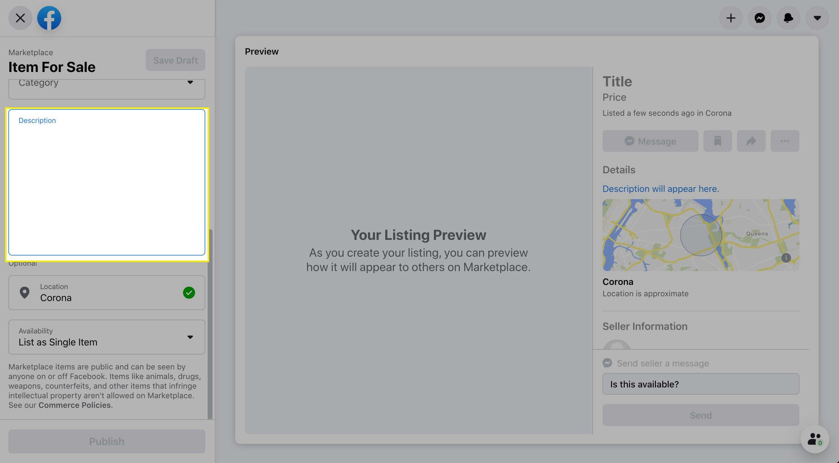 The Description field on Facebook Marketplace