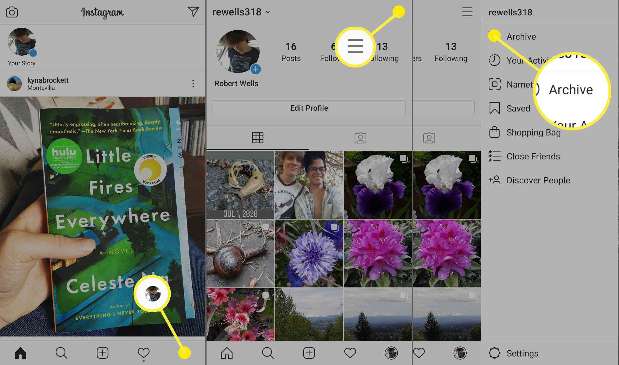 The steps to take to access your Instagram story archive.