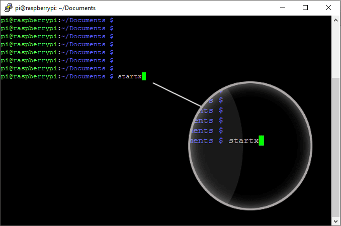 startx command in the terminal